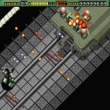 Final Zone Sharp X68000 First boss - a military train, you need to take out all its guns (this stage has auto-scrolling)