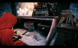 Woolfe: The Red Hood Diaries Windows Red investigates a desk for clues.