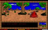 Savage Future DOS Killing a monster creates a large splash of blood.