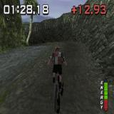 No Fear Downhill Mountain Bike Racing PlayStation This is the Japanese course. It's beside a river and if the player gets into the water they fall off their bike
