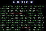 Questron Apple II Text moves across the screen, filling it in as you read.