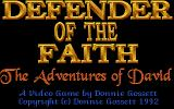 Defender of the Faith: The Adventures of David DOS Title screen