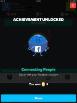 Trivia Crack iPad By signing in with Facebook, you unlock an achievement.
