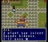 Terranigma SNES Ark is criticizing a USA beverage. A black man is watching