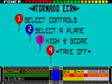 Tornado ECR ZX Spectrum Main menu