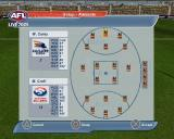 AFL Live 2004 PlayStation 2 During a game the player can access an in-game menu which allows them to change tactics, change game options such as sound, view statistics and team setup