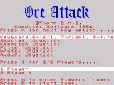 Orc Attack: You Against the Hordes ZX Spectrum Main menu