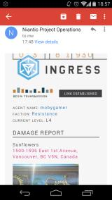 Ingress Android Do you like getting e-mail from games?  Because this game will be sending you e-mails.