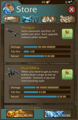 Lara Croft: Relic Run Android Weapons and upgrades in the store