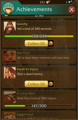 Lara Croft: Relic Run Android Achievements progress with coin bonuses