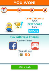 Despicable Me: Minion Rush Android Level completed with a piece of fruit for each objective.