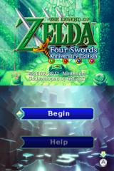 The Legend of Zelda: Four Swords - Anniversary Edition Nintendo DSi Title screen.