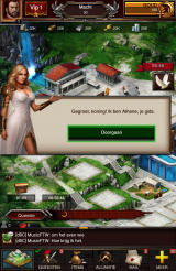 Game of War: Fire Age Android The goddess Athena helps you through the early parts of the game. She is modeled after bikini model Kate Upton, who was contracted to promote the game (Dutch version).