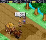 Monstania SNES Fron and Tia chat while a farmer is passing by