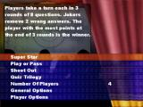 The Ultimate TV & Film Quiz PlayStation 2 The main menu<br>Each menu option is explained in the top half of the screen as it is highlighted<br>The game is payable by 1-4 players but the game played here would only select 3 or 4