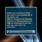 Zathura PlayStation 2 The game starts with the usual logo screens, player id creation/selection and a warning about memory card usage.<br>All this is followed by the menu screen