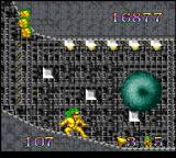 Mo Hawk & Headphone Jack SNES Dude slides into the end-of-level goal like a gnarly skimboarder.
