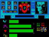 Shadowfire ZX Spectrum Stats:Agility, Strength, Stamina and Weight, Sevrina Maris selected