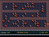 Unheart Atari ST Level 1. Collect all hearts, avoid getting hit by falling rocks, avoid blocking the way with bad pushes. Easy, no? No.