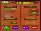 3-D Ultra Pinball: Thrillride Windows This is the basic game configuration screen. It is accessed via the Preferences option on the main menu