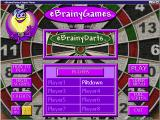 eBrainyDarts Windows The initial game screen<br>The game supports multiple player identities, these are the names used when scores are uploaded, it does not support multiple players