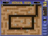 Miner Max Windows Level three shows the game's puzzle elements as max must negotiate a a maze to get to the gems<br>Also in this level, in the top right, is the game's first gun