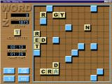Word Wiz Windows A game in progress.<br>Once the player collects a letter tile from the left of the screen it becomes the cursor until they place it in the grid. Once placed it cannot be moved.