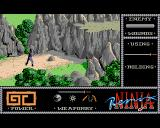 The Last Ninja Amiga Arkamani can climb but only if he has something that will help him to attach into the rocks.