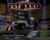 WWE Crush Hour PlayStation 2 Setting up an exhibition match<br>The final configuration screen selects the WWE star and their associated vehicle<br>There's no vehicle customisation options in this game