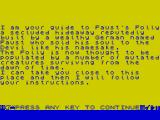 Faust's Folly ZX Spectrum Faust's Folly story page 1