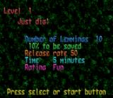 Lemmings SNES Level summary