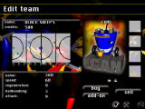 Bot Soccer DOS Edit team menu where you can buy and sell robots.