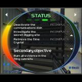 TimeSplitters 2 PlayStation 2 The in-game status screen for mission one in story mode, it's accessed via the pause menu<br>There's a status screen and other options on this menu too