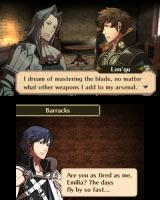 Fire Emblem: Awakening Nintendo 3DS I can listen in on my units' conversations in the barracks.