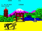 Kung-Fu: The Way of the Exploding Fist ZX Spectrum rotating kick (1+A) / short jab kick (space + B)