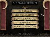 The Gladiators of Rome Windows The main team control menu.