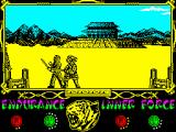 The Way of the Tiger ZX Spectrum - ...best regards of Coprolitus, His Majesty!!! Muahahaha!!!  (guttural laugh + soundtrack) POW!! THE WAY OF THE TIGER THE THIRD THE REVENGE. YOUR HEART WILL HAVE A SEIZURE. ALREADY IN YOU CINEMA!!