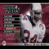 Madden NFL 2005 PlayStation 2 The Main Menu. <br>The player in the background moves and uses a juddering effect that is vaguely disturbing. Different players, managers, cheerleaders are shown here