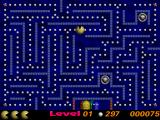 Pac Them Atari ST Level 1: the big grey points are teleporters. The big blue button is spawning the ghosts