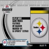 Madden NFL 2004 PlayStation 2 The game's main menu<br>The EA Extras option contains the game's credits, a season preview, and a short video on the Madden Bowl' a pre season party