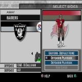 Madden NFL 2004 PlayStation 2 Team selection. The player is to control the Buccaneers and before the match they choose the uniform and the offensive/defensive playbooks