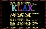 Klax Commodore 64 Title screen