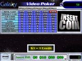 Galaxy Video Poker Windows The basic game screen<br>The game does not start until the player selects their stake money from the pop-up bar at the bottom of the screen