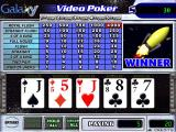 Galaxy Video Poker Windows A winning screen<br>The word WINNER flashes rapidly below the animated rocket. <br>The amount won is shown in a pop-up window