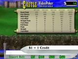 Castle Video Poker Windows The initial game screen follows the developer's logo<br>The game does not start until the player selects their initial stake from the sword themed pop-up a the bottom of the screen