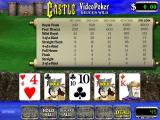 Castle Video Poker Windows The first deal of this hand has been made. The player is holding a pair of jacks hoping that a third will come in the second deal<br>Cards are held/released by clicking on them