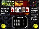 Raw Poker Windows The initial game screen<br>This is the first time the game has been played because eGames still holds all the high scores
