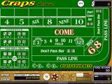 Craps Deluxe Windows The game screen at the start of the game<br>Bets are placed by clicking on a chip stack and then clicking on the desired game area