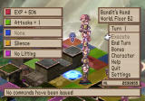 Disgaea: Hour of Darkness PlayStation 2 You can lift characters (including enemies) and build towers for various purposes. On the left side, the effects of the Geo Panels that are on the map can be seen