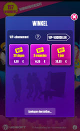Just Dance Now Android The in-game store where you can purchase a VIP subscription (device screen - Dutch version).